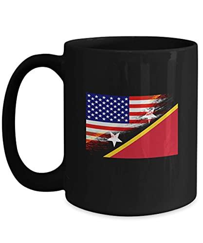 N\A Taza de café Negra de 11 oz con Bandera de San Cristóbal y Nieves de EE. UU.