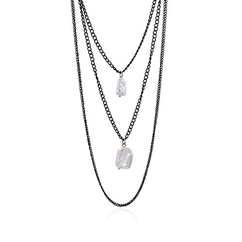 Colgante Tendencia de moda Multicapa Collar largo negro Señoras Simple colgante de perlas irregulares