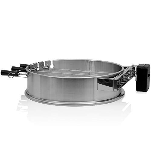 BBQ-Toro Edelstahl Grillspieß Set für Ø 57 cm Kugelgrill | 7 Edelstahl Spieße mit Grillaufsatz | Schaschlik Spieße inklusive Grillspieß Halterung | Schaschlikspieß