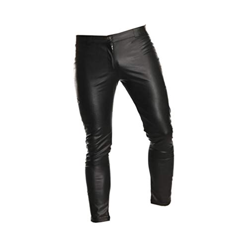 Healifty pantalones de cuero para hombres club nocturno sexy pantalones ajustados góticos elásticos ajustados para hombres en casa etapa -xxl