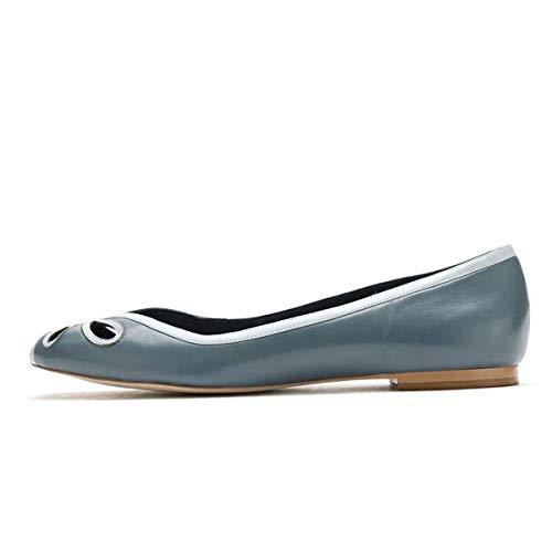 YDN Women Cutout Ballet Flats Peep Toe Loafer Pumps Comfy Slip On Casual Formal Walking Dress Shoes Size 11 Slate Blue