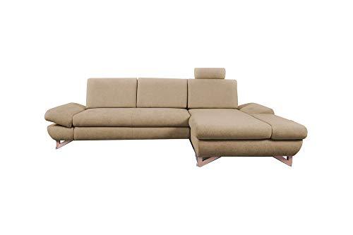 mb-moebel Ecksofa mit Schlaffunktion Eckcouch mit Bettkasten Sofa Couch L-Form Polsterecke Merida (Beige, Ecksofa Rechts)