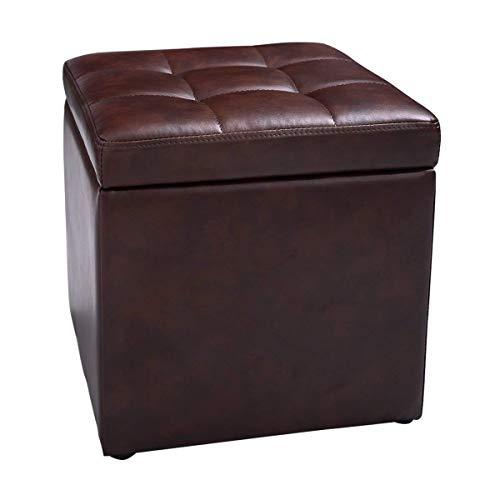 COSTWAY Sitzhocker mit Stauraum, Sitzwürfel aus PU-Leder, Sitzbox belastbar bis 300kg, Polsterhocker mit Deckel, Aufbewahrungsbox 40x40x40cm, Sitztruhe Farbwahl (Braun)