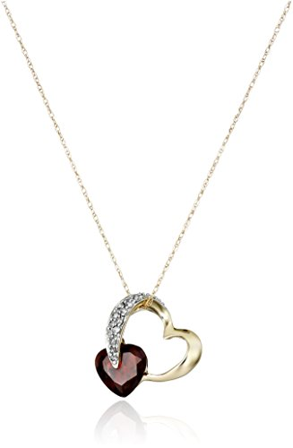 Hot Sale 10k Yellow Gold Diamond and Garnet Heart-Shaped Pendant (1/10 cttw, I-J Color, I2-I3 Clarity), 18""