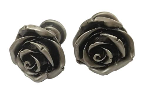 Rosa Design Schrank Knöpfe Silbermetall. Blumen Rosen vintage rétro. Einzigartige original Modell von italienischen Handwerker. Ideal für Möbel, Kommode, Schränke, Sideboards. Cm 2,8x2,3x2,4