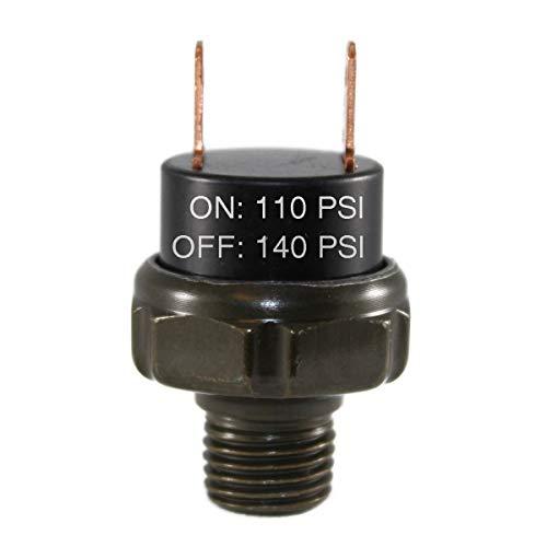 CompStudio 110-140 PSI Air Pressure Switch Tank Mount Type Thread 1/4 NPT 12V/24V for Train/Air Horn