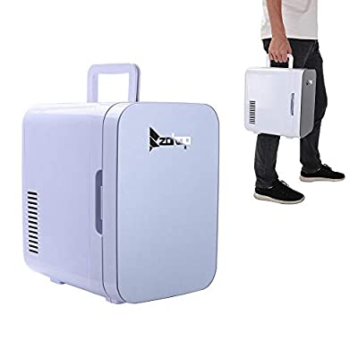 Mini Refrigerator,Mini Portable Compact Personal Fridge Cools & Heats 6Liter Capacity, 0.21 Cuft / 8 Can, 100% Freon-Free & Eco Friendly for Car, Outdoor, Office, Dorm, Apartment