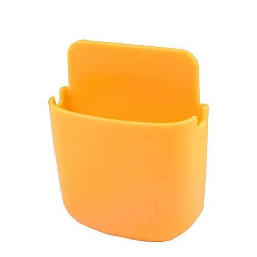 ENYOU Caja de almacenamiento Rack Montado en la pared Soporte de teléfono Soporte de control remoto Carga Mesa pegajosa Dormitorio del hogar (amarillo)