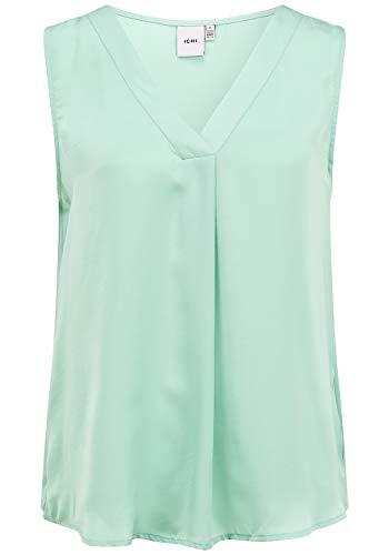 ICHI Damen Bluse Top Tunika Ärmellos 20111640, Größe:40, Farbe:Malachite Green (40613)