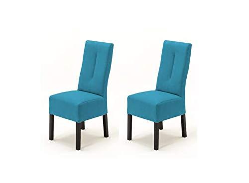 Robas Lund Stühle 2er Set Blau Petrol, Küchenstuhl mit Kunstlederbezug, Stuhlbeine Massivholz Kolonial, Stuhl Fabius
