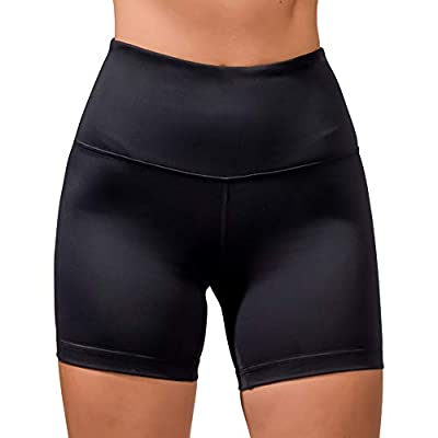Velocity High Waisted Squat Proof Active Shorts for Women - Black - Medium