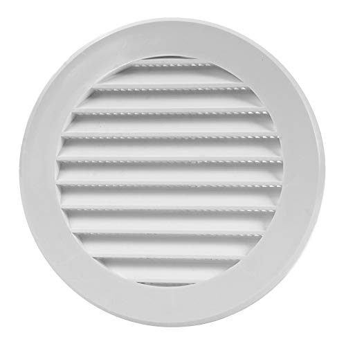 Vent Cover - Round Soffit Vent - Air Vent Louver - Grille Cover - Built-in Fly Screen Mesh - HVAC Ventilation (4'' Inch, Plastic - White)