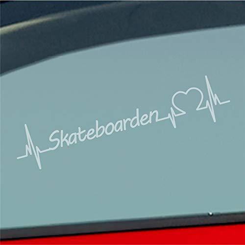 Auto Aufkleber Skateboarden Herzschlag Brett Skaten Freizeit Sport Sticker Liebe Milchglas