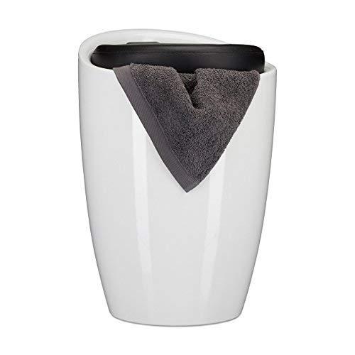 Relaxdays Badkruk tweekleurig, rond, kunststof, afneembaar zitkussen, 28 l opbergruimte, wasmand, draaggreep, zwart