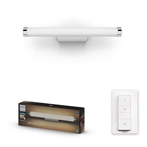 Philips Hue White Amb. LED-Spiegelleuchte Adore inkl. Dimmschalter, Bad-Beleuchtung, chrom, rund, 1050lm, alle Weißschattierungen, steuerbar via App, kompatibel mit Amazon Alexa (Echo, Echo Dot)