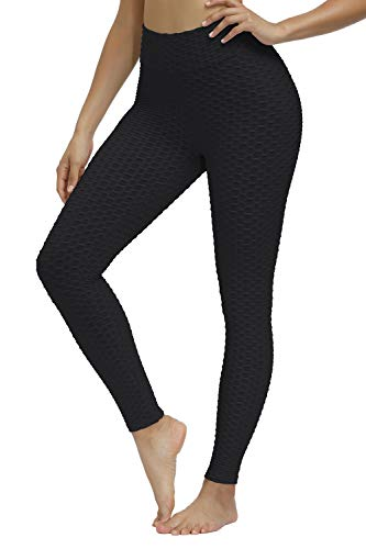 Yidarton Women Honeycomb Anti Cellulite Compression Leggings High Waisted Ruched Butt Lift Yoga Pants Tummy Control Scrunch Running Tights