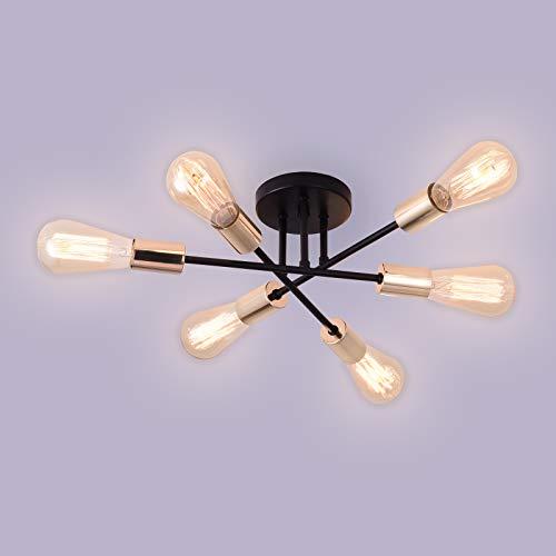Asvert Vintage Deckenleuchte   retro Deckenlampe   6 flammig   6x E27 Fassung   schwarz   Landhaus   rustikaler Stil I ohne Leuchtmittel (Black+gold)