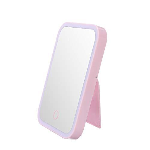 Stella Fella Vanidad del rosa maquillaje Espejo, Espejo de mano Espejo de maquillaje cosmético suave LED de la pantalla táctil ajustable de brillo de escritorio portátil encendido LED Espejo de maquil