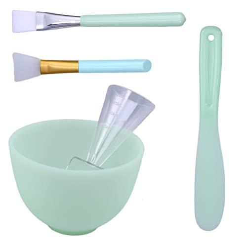 Beaupretty Masque facial bol Set Silicone masque facial Brosse de mélange Spatule Spatule pour outil de bricolage, Set de 5 (Vert)
