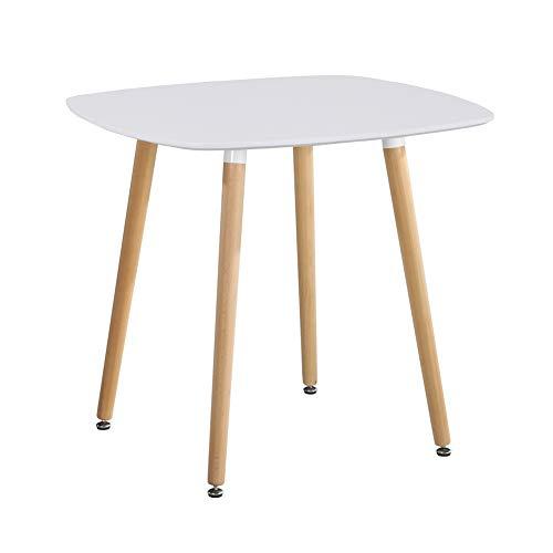 GOLDFAN Esstisch Weiß Klein Küchentisch Moderner Quadratischen Tisch Wohnzimmertisch mit Beine aus Buchenholz