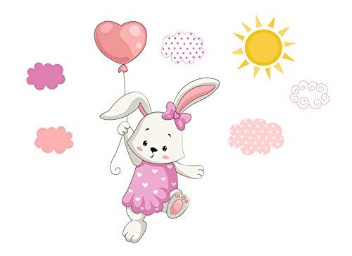 madras24 Wandsticker für Kinder Hase mit Luftballon Wandtattoo Aufkleber Wandaufkleber Kind Baby Kindergarten Zimmer Balloons Wolken Wolke Wanddeko Baby Kinder Sticker