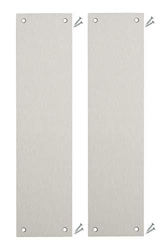 Pack de 2 – Placas de acero inoxidable satinado para dedo de la puerta – 300 x 75 mm – Esquina cuadrada – tornillos incluidos – IVA registrado