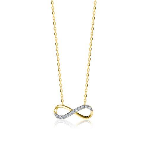 Orovi Kette für Damen Schmuck Gelbgold 9 Karat/ 375 Gold Halskette Unendlichkeit Infinity Anhänger mit Diamant Brillanten 0.06 ct