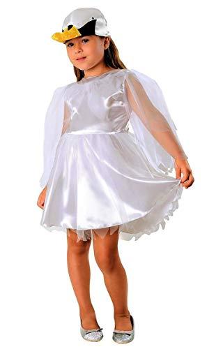 Magicoo Schwan Kostüm weiß für Kinder - schickes Schwanenkostüm für Mädchen Karneval - Vogel Kostüm Kinder (98/104)