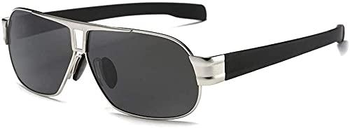 Gafas de sol de moda casual con material de metal, polarizadas, tendencia negro/plata/montura de pistola, lentes negras, gafas de sol de conducción para hombre (color plateado)