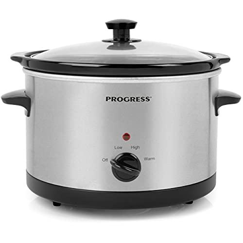 Progress EK2625PJWFOBGER-VDE Cocina antiadherente lenta con 3 ajustes de calor | 5.5 litros | placa cerámica extraíble | ideal para guisos, bebidas calientes, carne y más