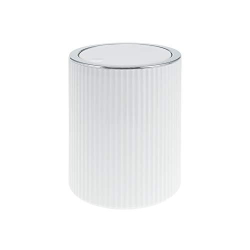 bremermann Mini-Kosmetikeimer GAVELLO mit Schwingdeckel // Badeimer mit Rillendekor, Kunststoff 1,5 Liter (Weiß)
