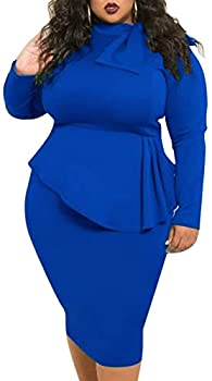 Peplum Dresses for Women Plus Size Patchwork Bodycon Business Church Formal Funeral Midi Dress Dark Blue 3X
