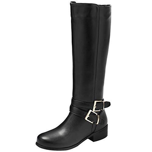 BeiaMina Mujer Casual Invierno Zapatos Plano Botas Rodilla Cremallera
