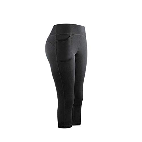 Smileyth Women Elastic Waist Leggings Quick Drying Solid Color Stretch Calf-Length Pants with Pockets Fitness Running Gym Sports Active Yoga Capris