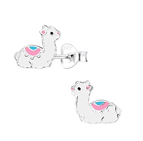 Llama Alpaca Animal Pendientes de Plata de Ley