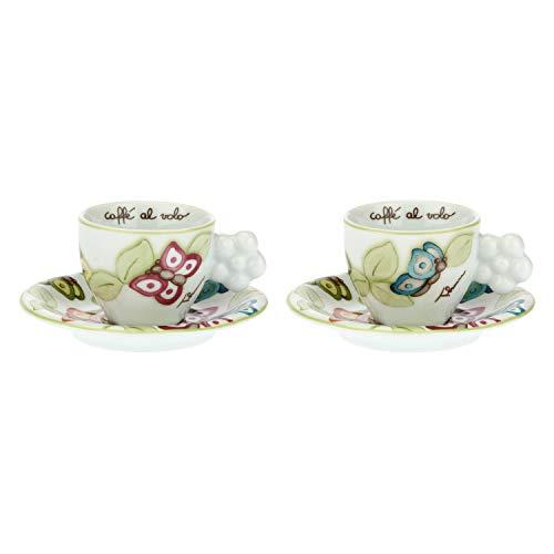 THUN - Set Tazzine caffè da 2, con Decorazione di Farfalle e Manico a Forma di Fiore - Accessori Cucina - Linea Farfalle in Festa - Porcellana - Piattino 12,5 x 2,5 cm