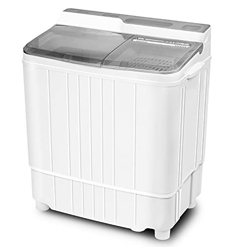 Superday Portable Mini Twin Tub Washing Machine Compact Washer and Dryer w/Wash and Spin Cycle 17.6lbs Capacity For Camping, Apartments, Dorms, College Rooms, RV'S, Delicates, Grey and White