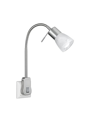 TRIO, Spot, Levisto incl. 1 x LED,E14,5,0 Watt,3000K,470 Lm. Verre, Albâtre, Corps: metal, Nickel mat L:4,7cm, H:40,0cm, P:23,0cm IP20,Interrupteur,Flexible