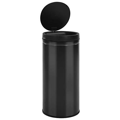 Tidyard Cubo de Basura de Apertura automática Cubo de Basura con Sensor automático 80L Acero al Carbono Negro