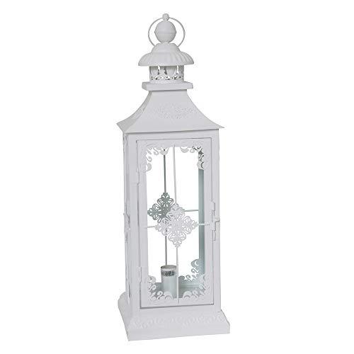 Tischlampe CHALET weiß Laterne mit Beleuchtung Metalllaterne beleuchtet Bodenlampe Stehlampe