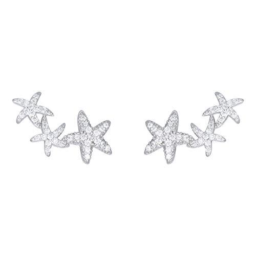 GALBLA 925 plata de ley 3 estrellas de mar circonita cúbica oreja brazalete trepador urdimbre pendiente
