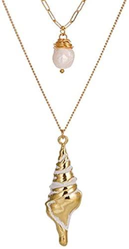 NC66 Collar de moda de estrella de mar de oro Concha largos Collares Colgante para las Mujeres Declaración Concha Cadena Collares Collar de Joyería