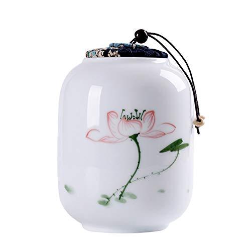 Carrito De Té De Cerámica El tanque de almacenamiento sellado de té de cerámica pintado a mano es adecuado para todo tipo de comidas y condimentos de cocina Tanque De Almacenamiento Universal