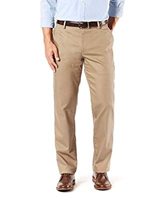 Dockers Men's Straight Fit Signature Khaki Lux Cotton Stretch Pants, New British Khaki, 40 32 by Dockers