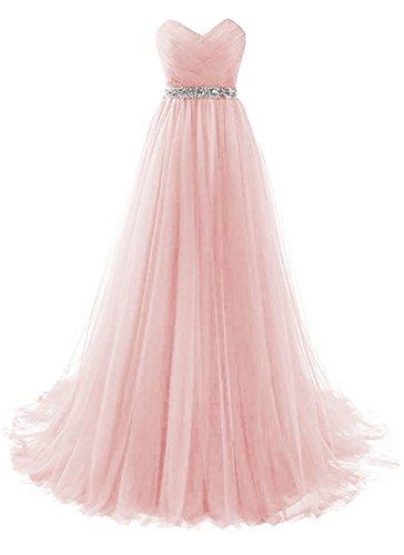 dannifore Pink Sweetheart Neckline Ruffles Bridesmaid Dresses Long Prom Evening Gown Empire Waist Size 18W