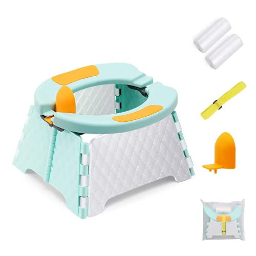 Portable Potty Training Seat for Toddler, Foldable Potty Training Toilet for Boys & Girls with 60 Pcs Travel Bag & Storage Bag, Toddler Potty Chair for Travel Home Car Camping (Blue)