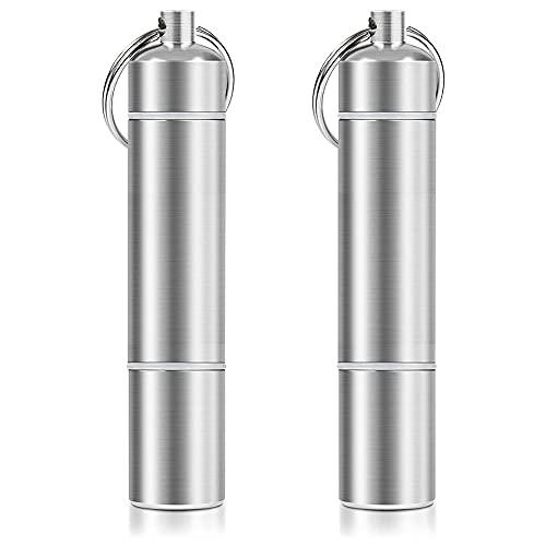 Mini cartucho de medicina aleación de aluminio llavero primeros auxilios píldora botella medicina tarro llavero pequeño aluminio píldora caja