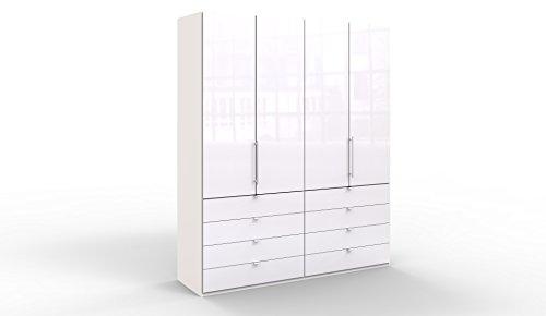WIEMANN Loft Kleiderschrank, Schlafzimmerschrank, Gleittürenschrank, Drehtürenschrank, mit Schubladen, Glas, weiß, B/H/T 200 x 236 x 58 cm