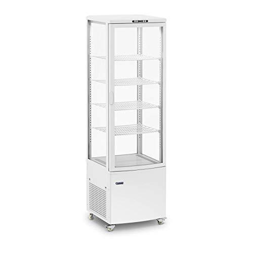 Royal Catering Vitrina Refrigerada Para Hostelería RCCC-238-W (Capacidad: 238 L, 5 niveles, Blanca, Con 4 ruedas y con cerradura)