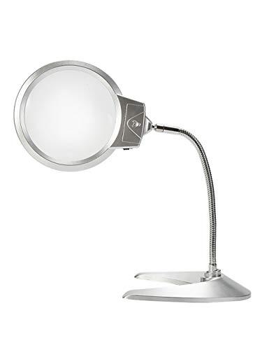 Lupa de mesa con luz LED, lente óptica sin distorsión, 10X, espejo para el cuerpo de plástico de ingeniería, para inspección y mantenimiento, lectura de personas mayores, iluminación electa